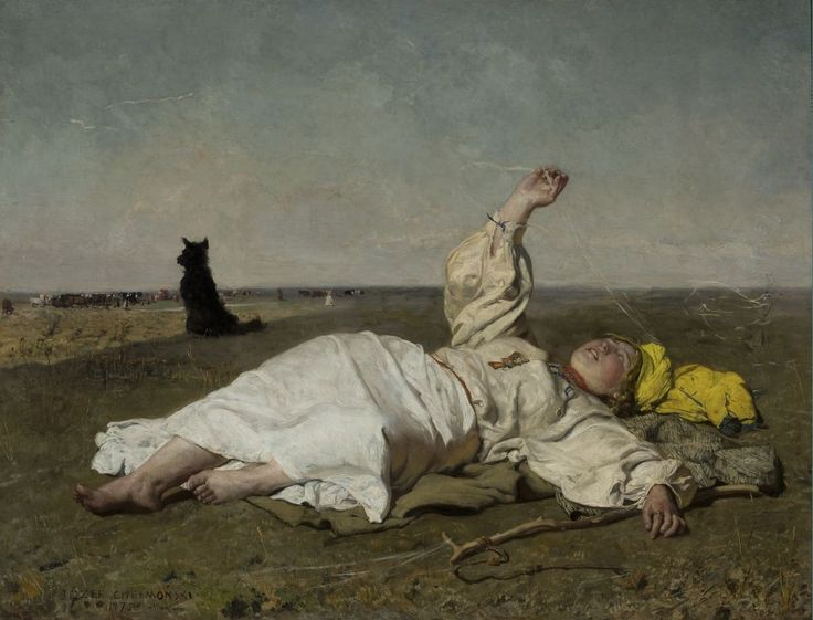 """Józef Chełmoński, """"Babie lato"""", 1875, olej na płótnie, 119,7 x 156,5 cm, wł. Muzeum Narodowe w Warszawie"""