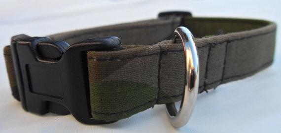 Camoflage dog collar  green/blk  small by CollarYourDog on Etsy, $10.00