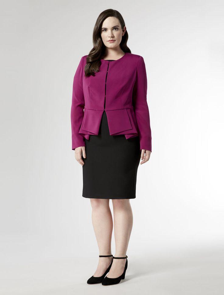 Fitted cady jacket with pleats motif, fuchsia - CIELO Marina Rinaldi