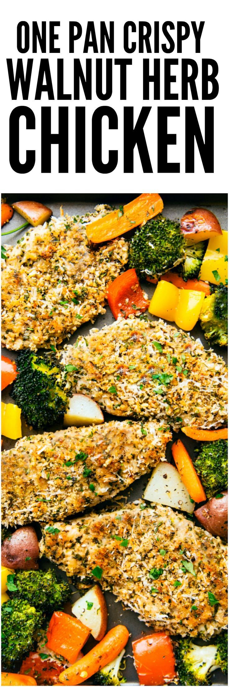 One Pan Crispy Walnut Herb Chicken and Vegetables is a delicious meal all made in one pan! The chicken gets coated with a nutty walnut herb coating and is surrounded by tender veggies. This is sure to be a hit!