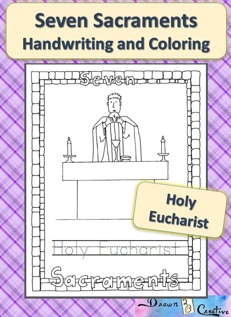 seven sacraments coloring and handwriting holy eucharist catholic printables pinterest. Black Bedroom Furniture Sets. Home Design Ideas
