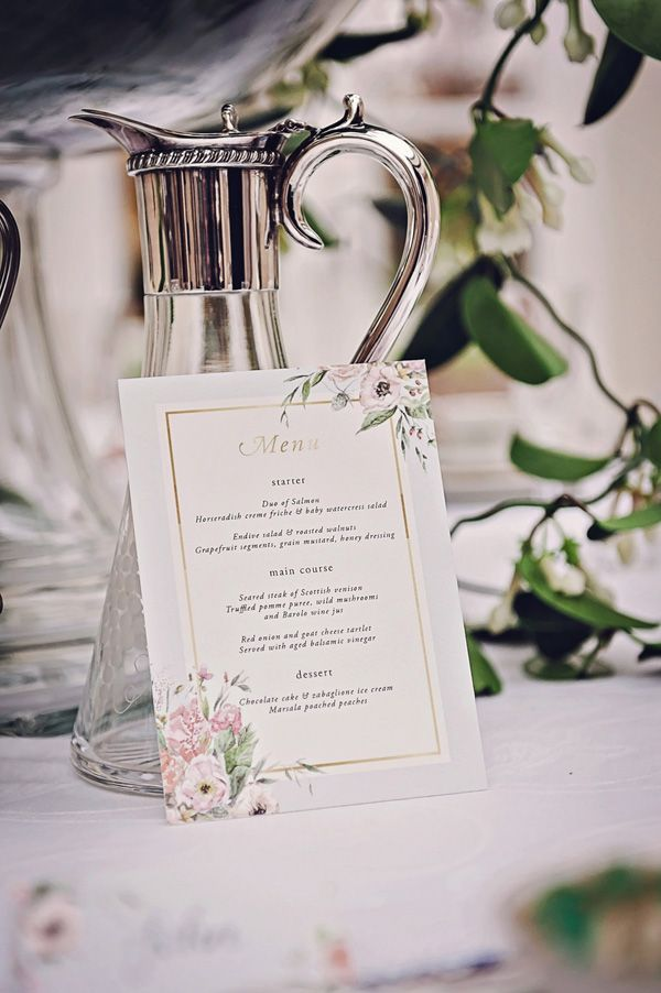 Neoclassical wedding styled shoot by Petra Opperman with Matthew Bishop Photography (28) Gold foil wedding menu by Gemma Milly