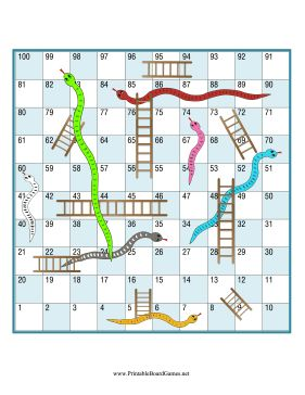 Use a die and any game pieces you like for this printable board game of snakes and ladders, similar to chutes and ladders. If you land on the bottom of a ladder, go up, but if you land on the head of a snake, go down to the tail. Free to download and print