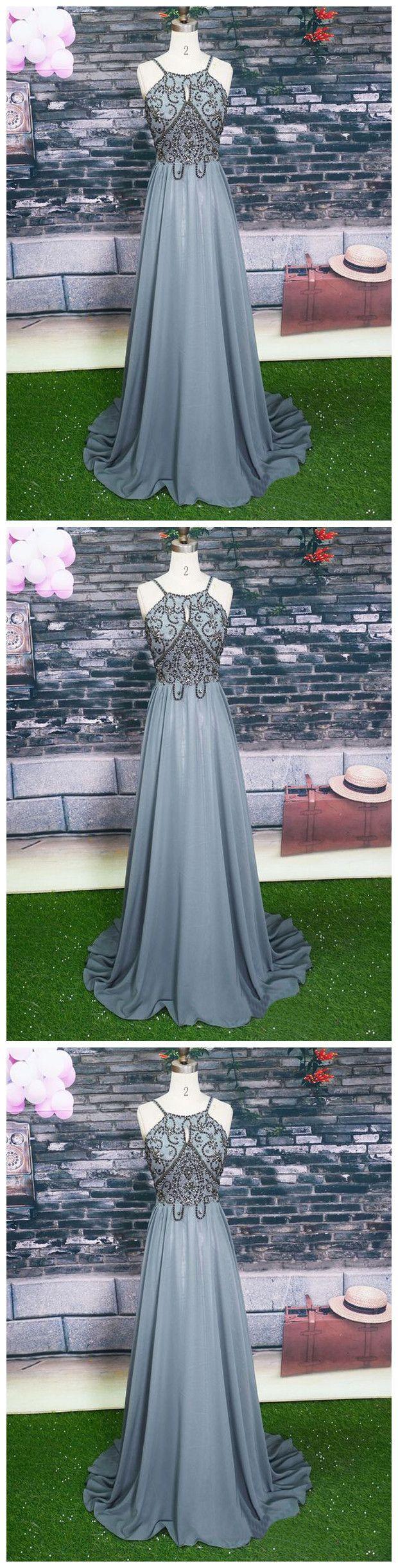 Halter Grey Beaded Prom Dress,Long Beading Prom Dresses
