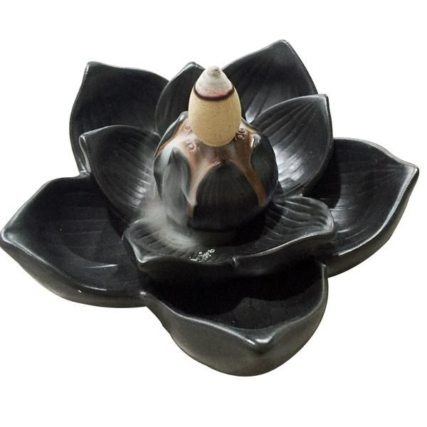 FREE SHIPPING, Creative Buddhism Gifts Ceramic Incense Base Smoke Backflow Lotus Petals Censer Tower Incense Burners Lotus Cone Incense Holder