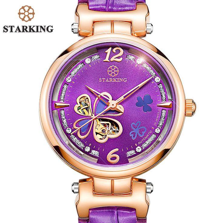 STARKING Women Watch Female Luxury Brand Purple Leather Strap Automatic Watch Women 50m Water Resistant Montre Squelette Femme