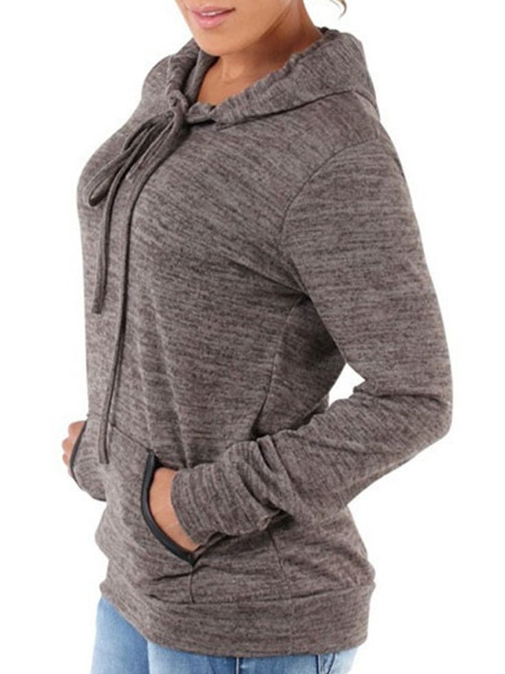 Casual Loose Solid Color Pockets Hooded Women Hoodies  women fashion