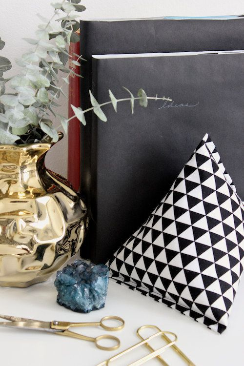 Make some DIY rice-and-beans-filled bookends from fabric scraps.