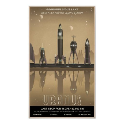 Vintage inspired space travel poster to Uranus. #astronomy #planets #sciencefiction
