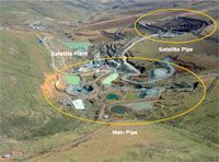 Liqhobong mine in Losotho. 75% owned by Firestone Diamonds.  325,000cts mined between Sep '11 and Jul '13. ~$110pct indicating a mine value of $3.4billion.