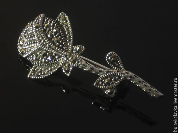 """Купить Винтажная серебряная брошь """"Rose flower"""" с марказитами - серебряная брошь 925, винтажная брошь"""