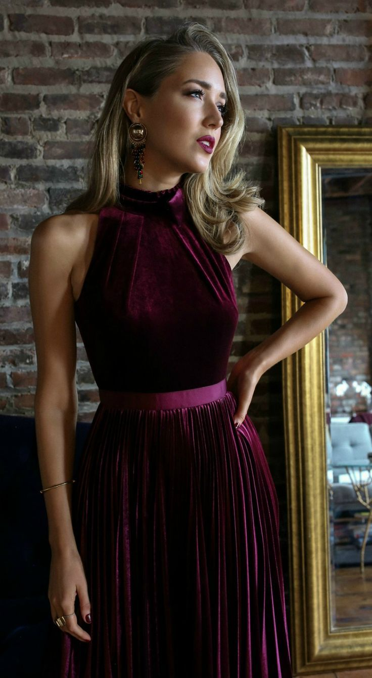 Click for outfit details! // Burgundy pleated velvet dress, black patent Mary Jane pumps, vintage gold earrings, deep red lip {Jimmy Choo, Ted Baker, Zara, date night outfit, chic office party style, holiday style, fashion blogger, nyc}