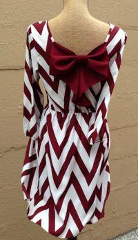 Crimson/White Chevron Bow Back Dress | Stella Rae's {limited quantities available}