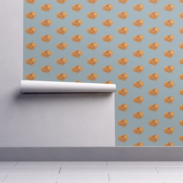Isobar Durable Wallpaper featuring Duck Egg and Oranges by traceyharveydesigns | Roostery Home Decor