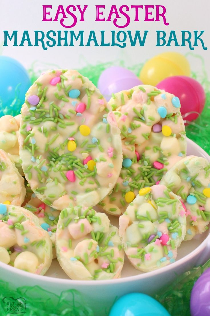 Easy Easter Marshmallow Bark - made in minutes with only a few ingredients! Best Easter dessert ever! Butter With A Side of Bread