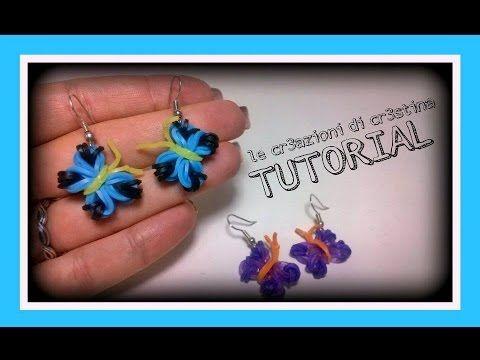 Tutorial Orecchini Farfalla con Elastici RAINBOW LOOM - DIY Earrings Butterfly Charm - YouTube