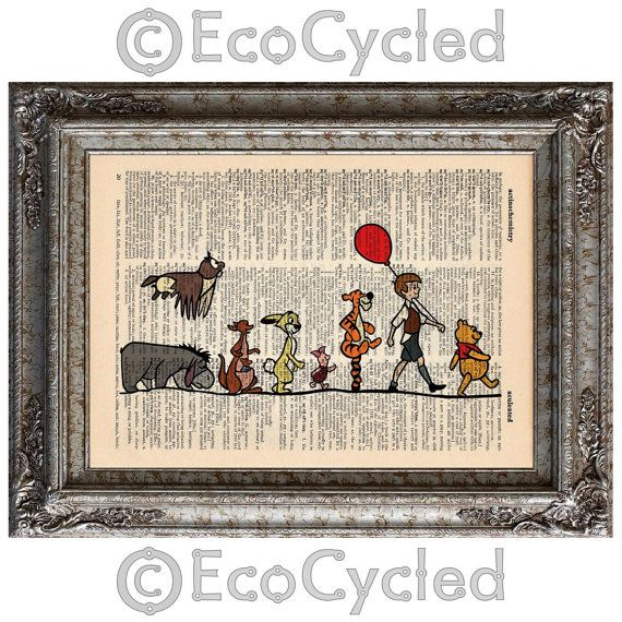 Winnie the Pooh and Friends on Vintage Upcycled Dictionary Page Book Art Print Disney on Etsy, £6.44