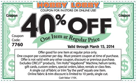 Pinned March 11th: 40% off a single item at Hobby #Lobby, or online via promo code 7760 #coupon via The Coupons App