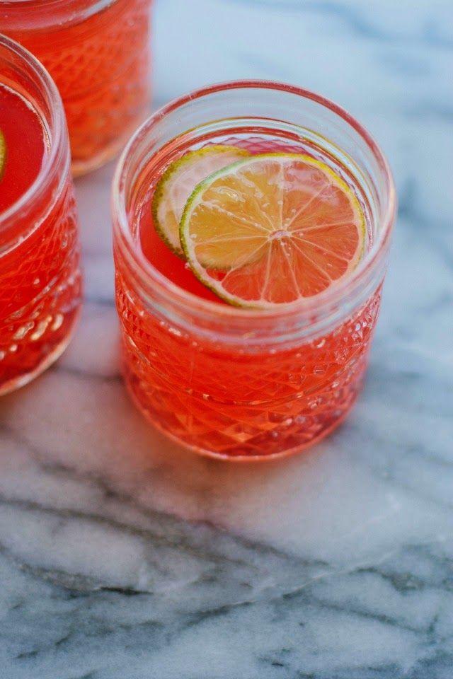 Rhubarb + Ginger Fizz Mocktail - Rhubarb, Ginger, Raw Sugar, Limes, Sparkling or Still Water.