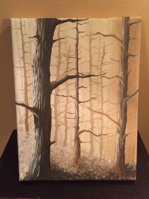 Golden Trees Original Acrylic Painting by KristiBonham on Etsy