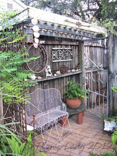 Love all the iron pieces: Garden Decor, Garden Ideas, Iron Pieces Thanks, Country Gardens, Budget Gardening, Backyard, Garden Seating, Garden Wishes