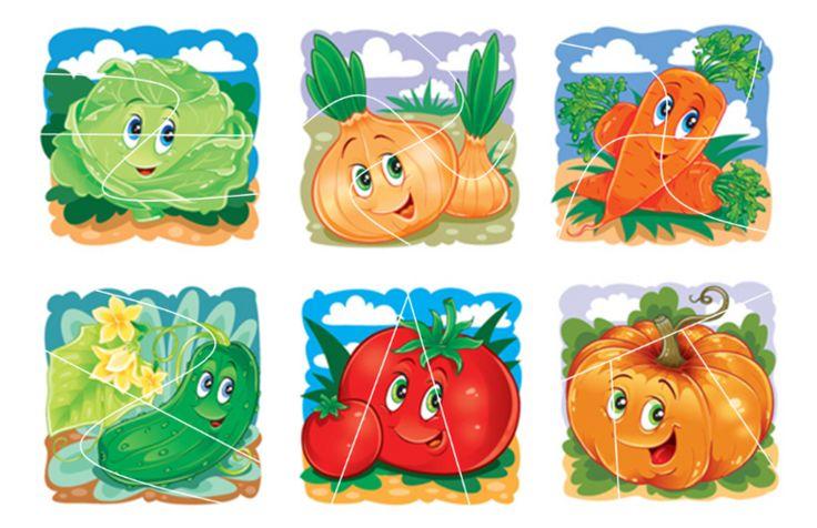 Веселые овощи и фрукты. Разрезные карточки. - Babyblog.ru