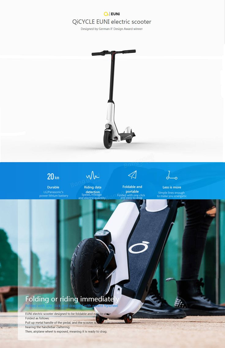Xiaomi QiCYCLE EUNI ES808 Standard Version Foldable Electric Scooter 20 km/h Max. Speed 20km Long Life 250W