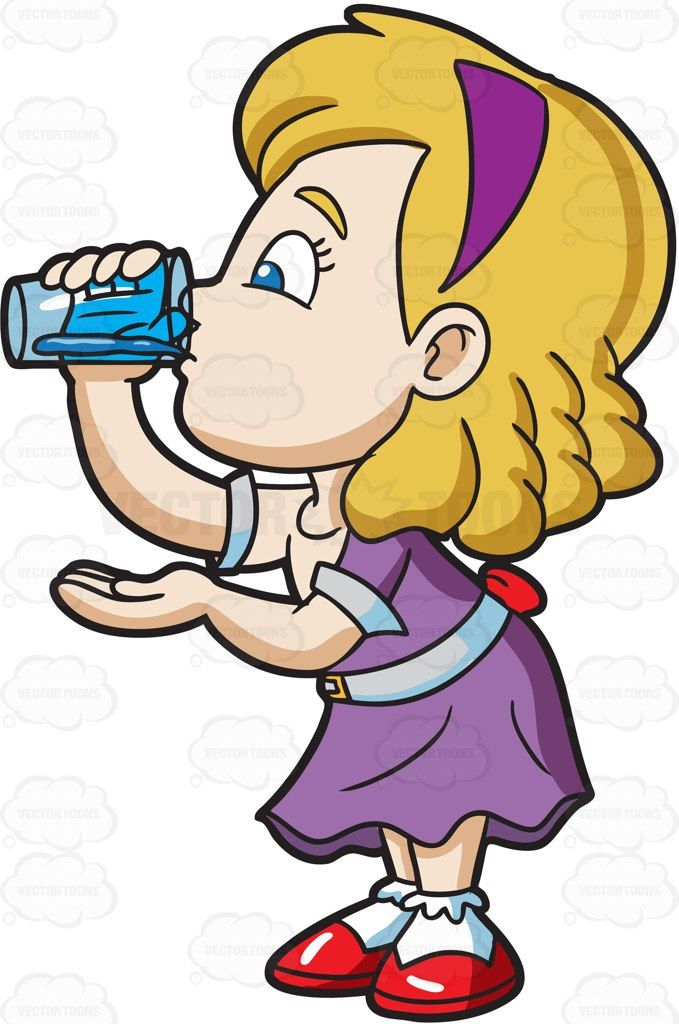 A Girl Carefully Drinks A Glass Of Water Cartoon Clipart