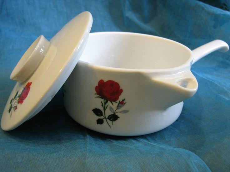 1960s Ovensafe Dish Skillet Pan Kasserole with Lid – German Winterling Porcelain – Vintage Mid Century Design – Cute Rose Décor von everglaze auf Etsy