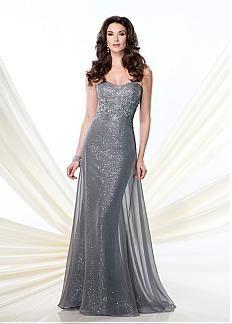 Glamorous en mousseline de soie A-ligne de soie, comme Décolleté en coeur pleine longueur mère de la robe de mariée
