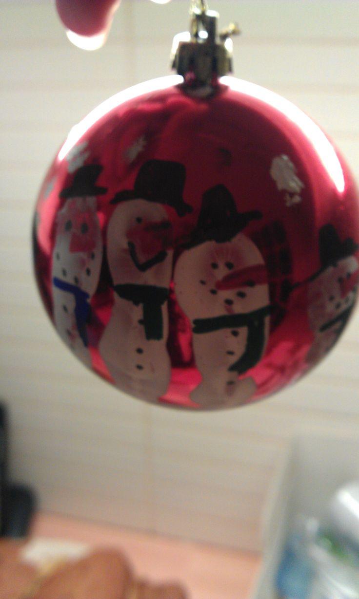#CPfestivecrafts Izzys fingerprints painted to be snowmen :D