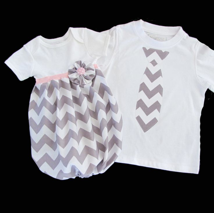 Boutique SIBLING SET..Brother sister set..Baby layette infant gown and tie t-shirt... in grey chevron. $54.00, via Etsy.