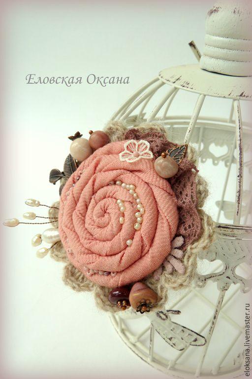 """Купить Брошь """"Розовый зефир"""". - бледно-розовый, брошь ручной работы, брошь цветок"""