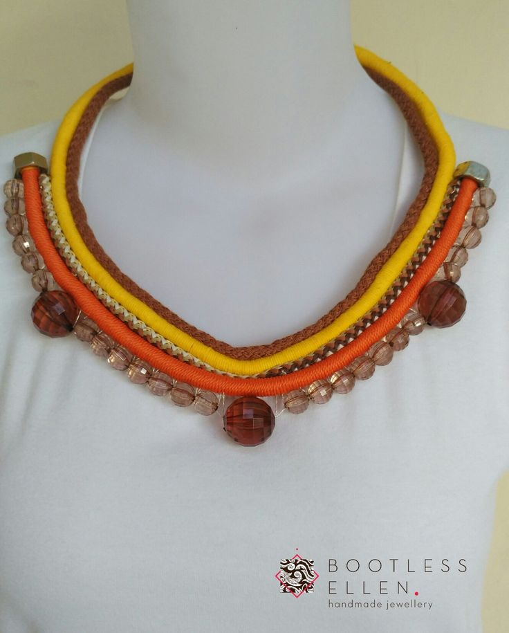 - Sunshine - Rope Statement Necklace Made from big size beads & Greek chord  Grab it fast before running out!  For further info, please contact us through Whatsapp 081210770101, BBM 5ABC81D3 or LINE @bootlessellen (without @)  #bootlessellen #jualkalung #jualkalunghandmade #jualkalungunik #jualkalungpesta #jualgelang #jualgelanghandmade #jualgelangunik #kalung #gelang #jualperhiasan