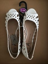 Primark Atmosphere NWT Summer Shoes Sandals Preppie Flats Cream Ivory Size 5