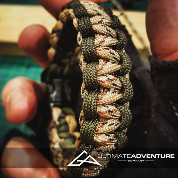 Dark OD Green and Desert Camo Paracord Bracelet, Hunting Fashion, Fathers Day Gift, Mens Bracelet, EDC, EDC Bracelet, Wanderlust Accessories