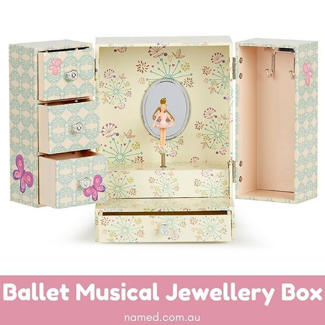 NEW to Named!    A ballerina music jewellery box is a classic gift for a little girl, but personalised music jewellery boxes are even more special. We'll engrave your little girl's name and birthday on a plate on the front.    Shop now at named.com.au    #Named