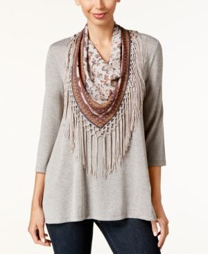 Style & Co Petite T-Shirt with Printed Fringe Scarf, Only at Macy's - Tan/Beige P/XS