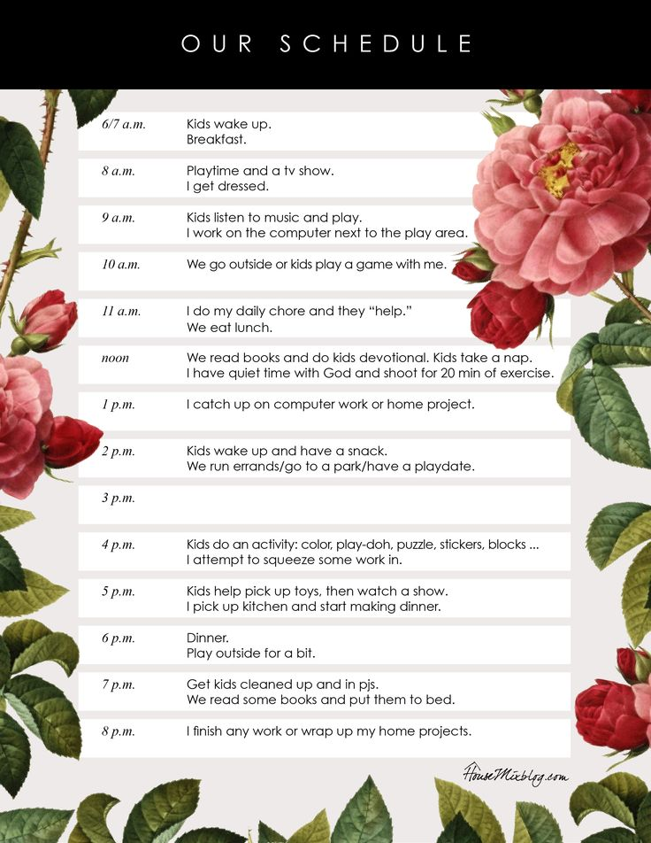 pretty printable daily kids schedule parents mom schedule and babies. Black Bedroom Furniture Sets. Home Design Ideas