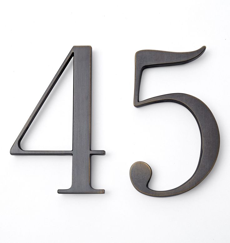 "6"" tall traditional house numbers in burnished antique"