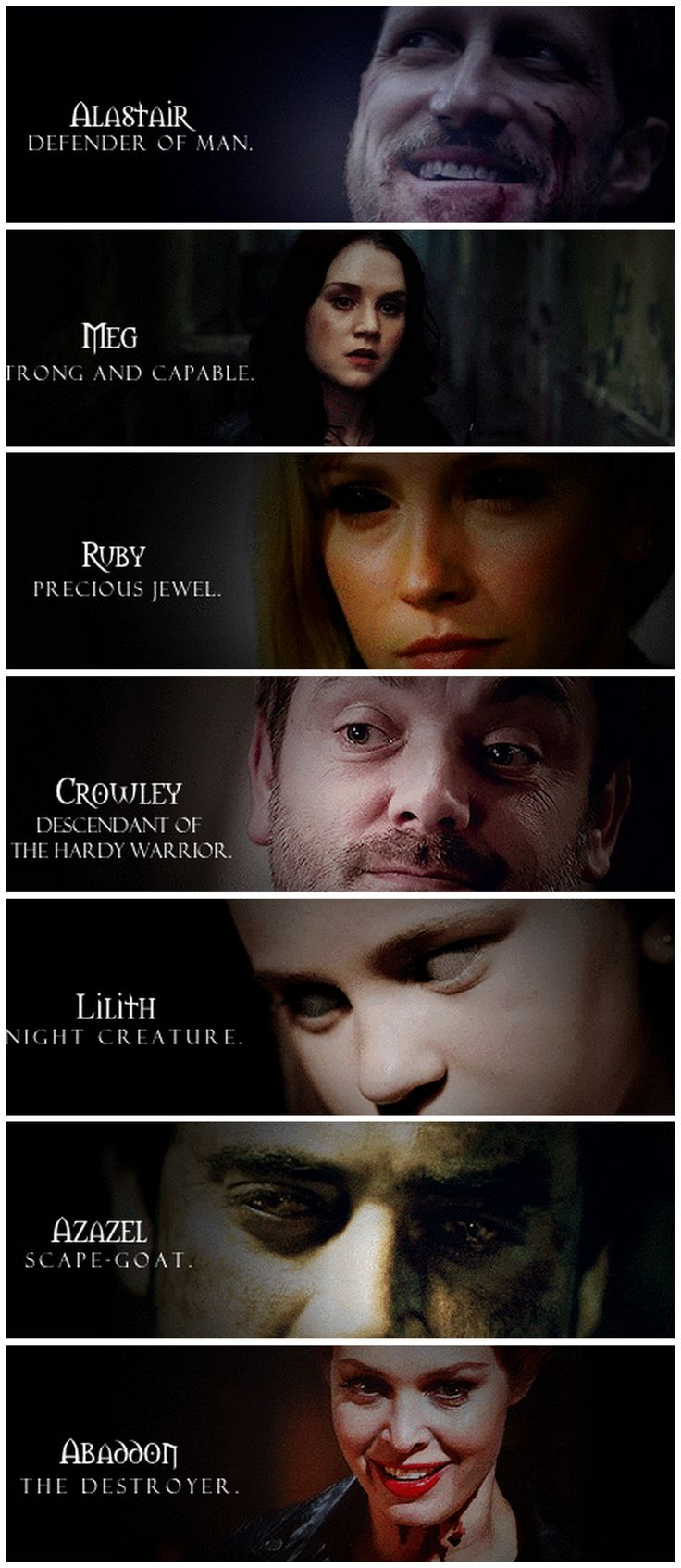 [gifset] Demons and name meaning. #SPN //// Dont forget to add dean to that list now