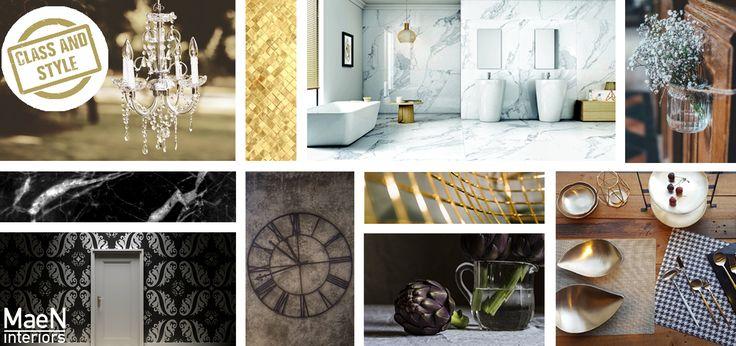 CHIC CLASSIC | Dit interieur is elegant en wordt gekenmerkt door rijke materialen zoals marmer, staal en glas. Veel neutrale kleuren als wit en zwart, maar ook intense kleuren als goud en paars. In deze interieurstijl wordt veel gebruikt gemaakt van grote maatwerkmeubelen zoals kasten. Een openhaard mag niet ontbreken, die zowel klassiek als modern kan zijn, als het maar chique is. Ook zijn antiek en kunst een belangrijk onderdeel. Deze stijl kom je bijvoorbeeld tegen in Residence.