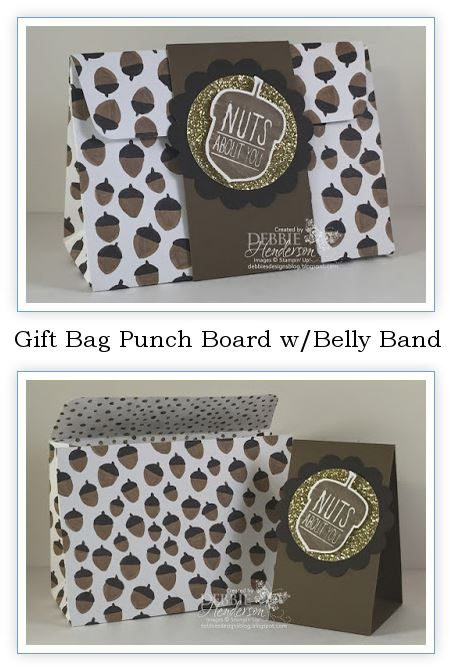 Create with Connie & Mary Saturday Blog Hop. We are featuring treat or favor holders. I used the Gift Bag Punch Board to create my treat holder which includes a belly band. Debbie Henderson, Debbie's Designs.