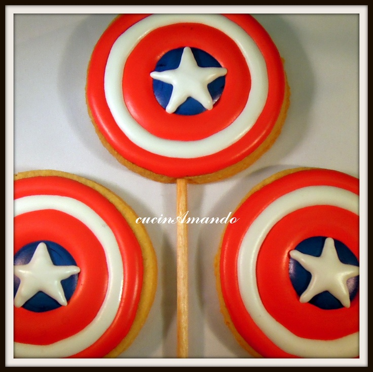 Capitan America cookie pops
