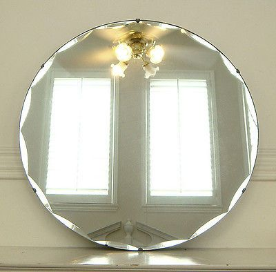 Antique Art Deco Round Scallop Beveled Glass Mirror Deco