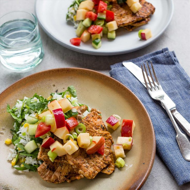 Paprika Grilled Pork with Veggie Rice and Tomato Apple Salsa