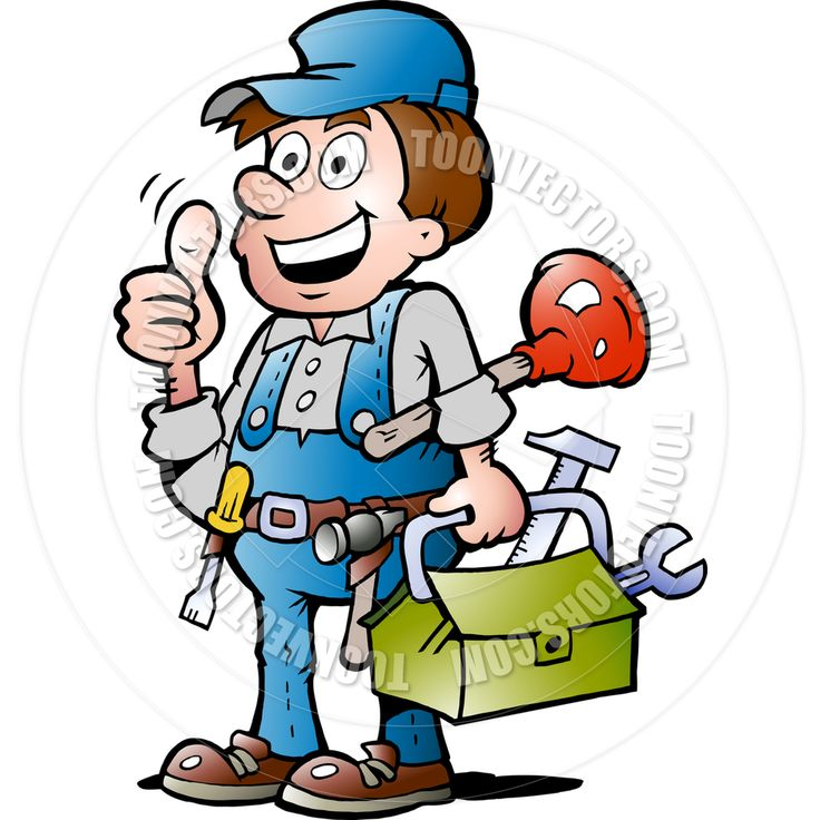 Non Copyrighted Drawings Cartoon Happy Plumber Handyman