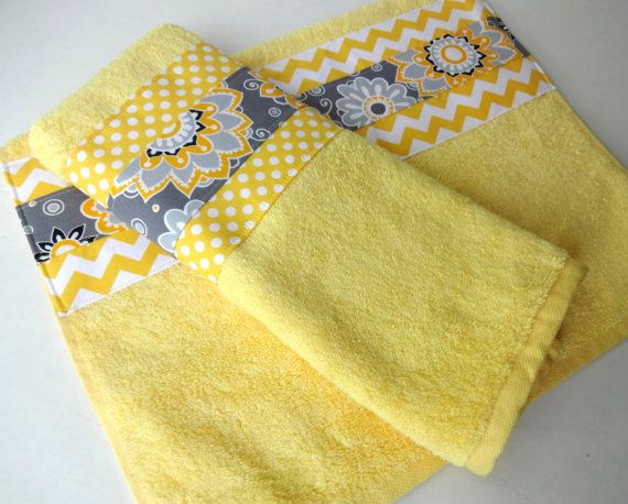 Yellow and Gray Chevron bathroom towels set of two by AugustAve, $34.00