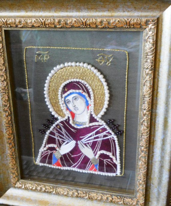 Icon  of Our Lady, called 'Seven Arrows' - gold embroidery, icon, Russian art, old art, perl, handmade, Sveta Raskina