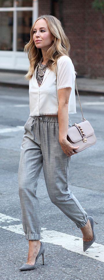 Light Grey Dress Pants Outfit Women